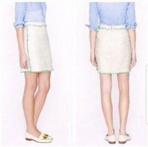 J. Crew sz 8 cream white green tweed skirt gold